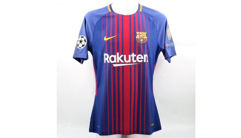 low priced 6735e 9ce1f Messi's Match-Issued/Worn Barcelona Shirt, 2017/18 UCL - CharityStars
