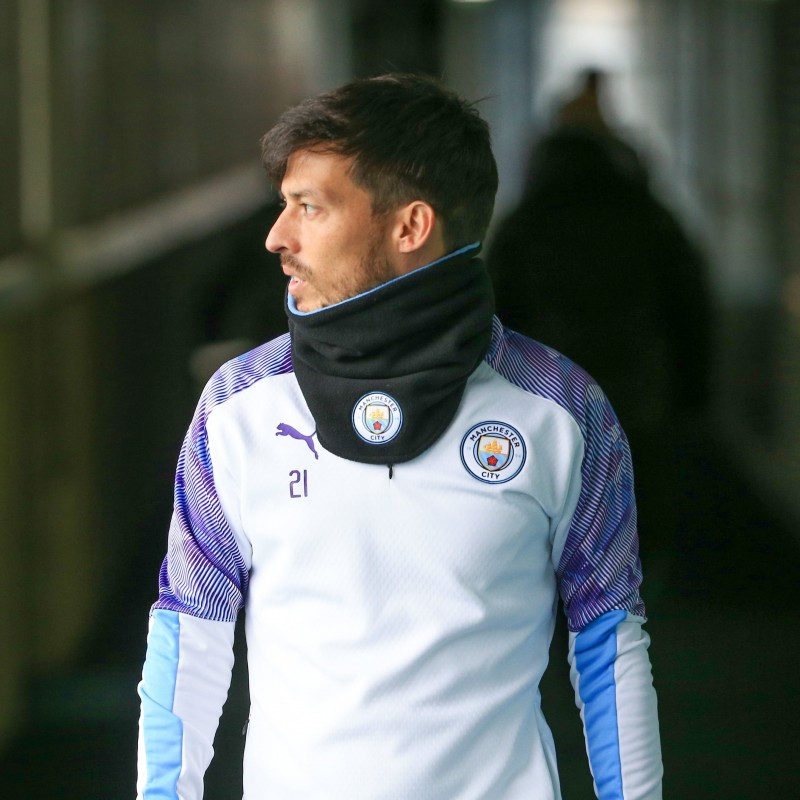Manchester City PUMA 2019/20 Worn Training Kit in White, Two Piece - David Silva