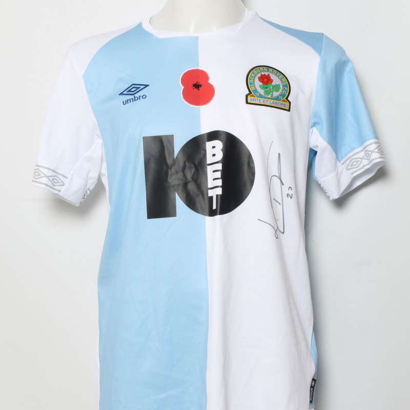 Lewis Travis' Match-Worn Blackburn Rovers Signed Poppy Home Shirt