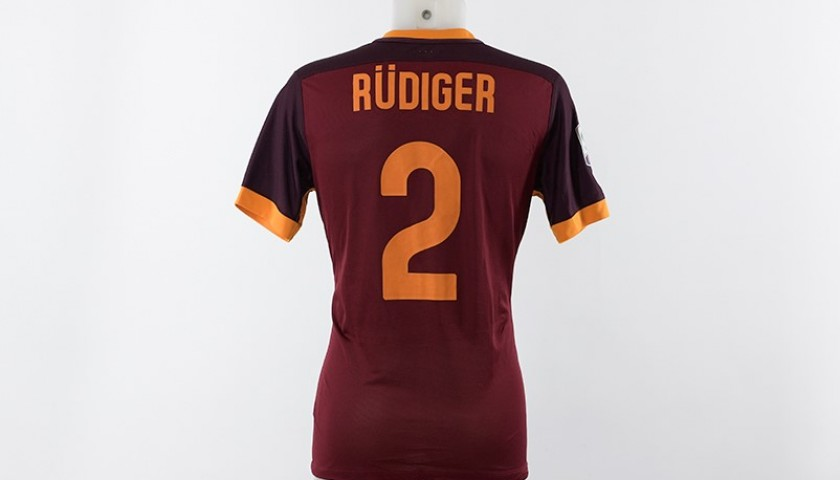 check out 4ec86 4594c Rüdiger's Match-Worn Debut Roma Shirt with Special Football Cares Logo -  CharityStars