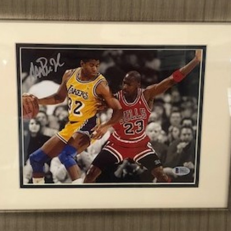 Magic Johnson vs Michael Jordan Autographed Photo