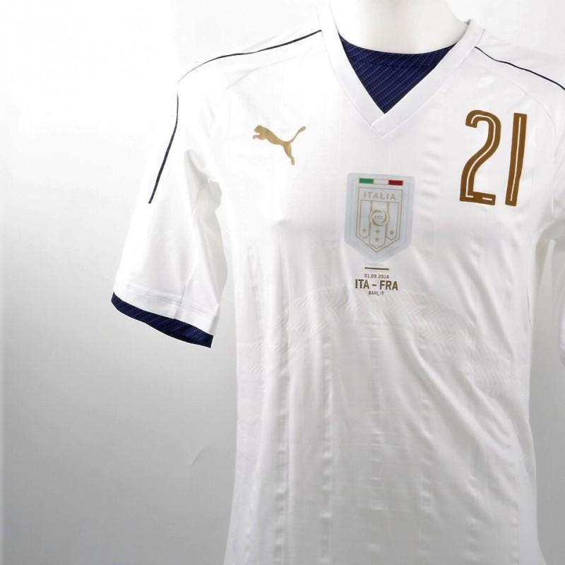 Bernardeschi issued/worn shirt, Italy-France 1/09/2016