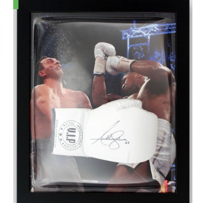 Anthony Joshua Signed and Framed V.I.P. White Boxing Glove
