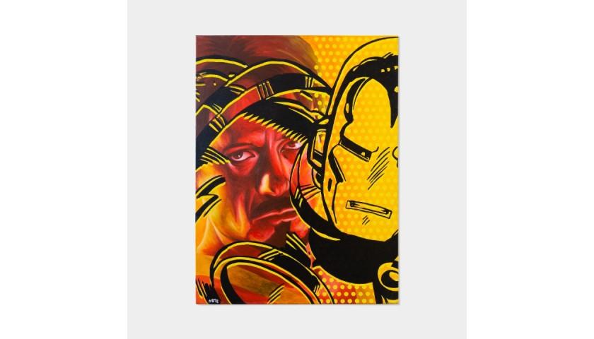 Mute 'Tony Stark is Iron Man' Oil Painting on Canvas