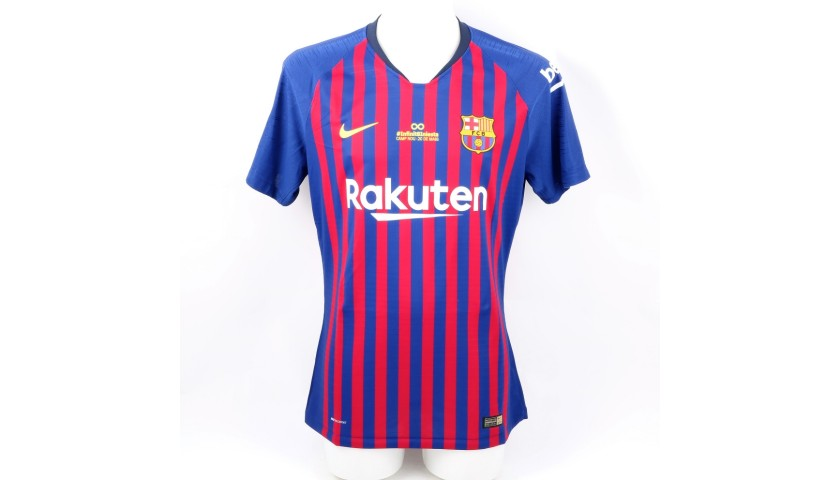 competitive price f6147 56cee Messi's Barcelona Match Shirt, Iniesta Last Match 2018 - CharityStars