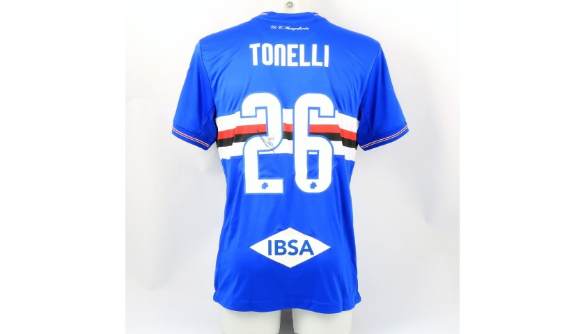 Tonelli's Sampdoria Match-Issue Signed Shirt, 2018/19