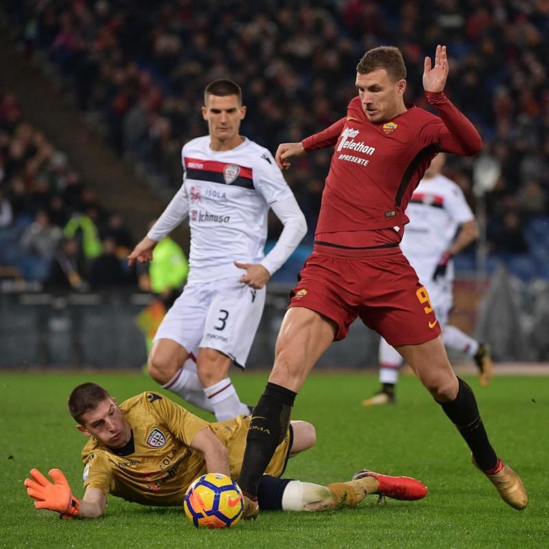 Dzeko's Match-Worn Roma-Cagliari Shirt, Special Sponsor Telethon