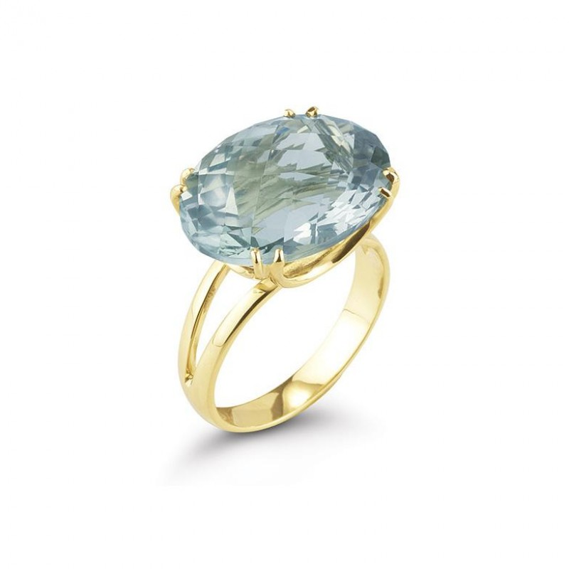 14 Karat Yellow Gold Polish-Finish Ovel-Shaped Green Amethyst