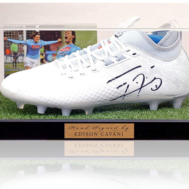 Edinson Cavani Napoli Signed Boot Display