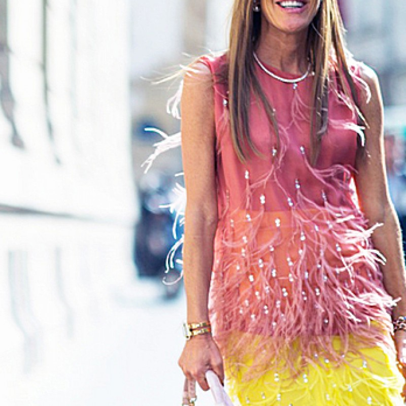 Tank top and skirt worn by Anna Dello Russo