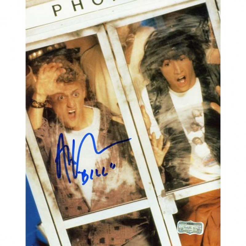 "Alex Winter Signed Bill & Ted Photo in Phonebooth with ""Bill"" Inscription"