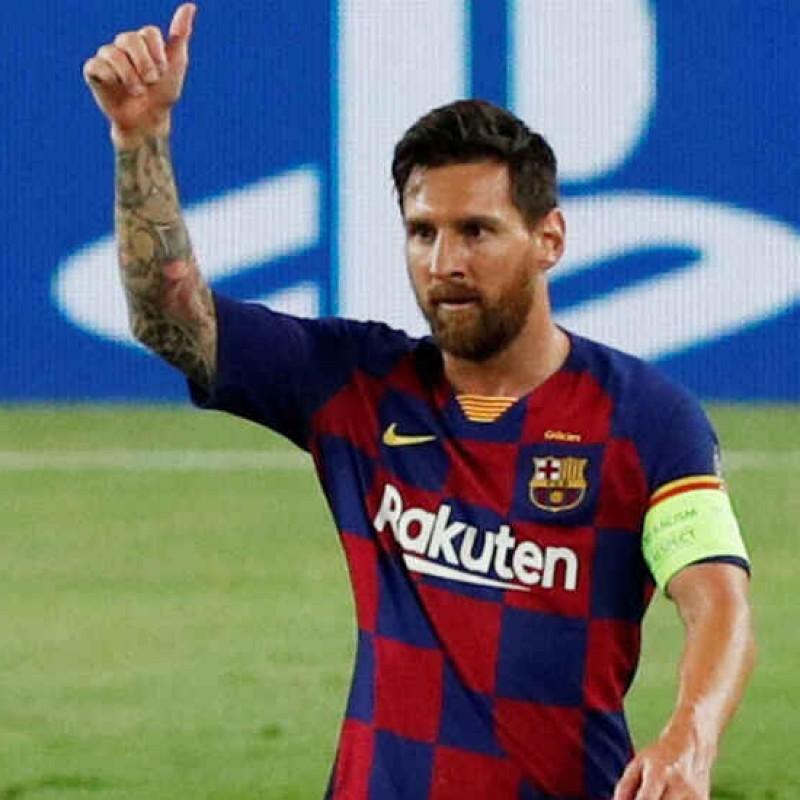 Messi Signed Celebration Canvas