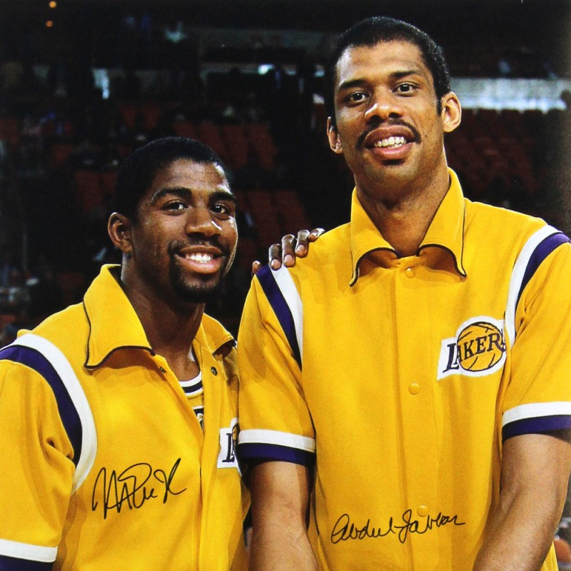 Abdul-Jabbar & Magic Johnson Signed Los Angeles Lakers NBA Photo