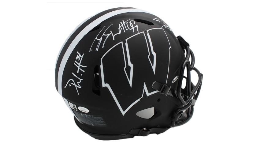 JJ, TJ, and Derek Watt Signed Wisconsin Badgers Speed Authentic Eclipse NCAA Helmet