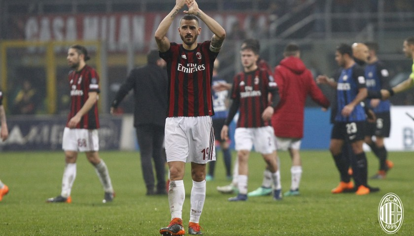 52e8a2c42ae20a Bonucci's Unwashed Match-Worn Milan-Inter Shirt with Special Patch -  CharityStars