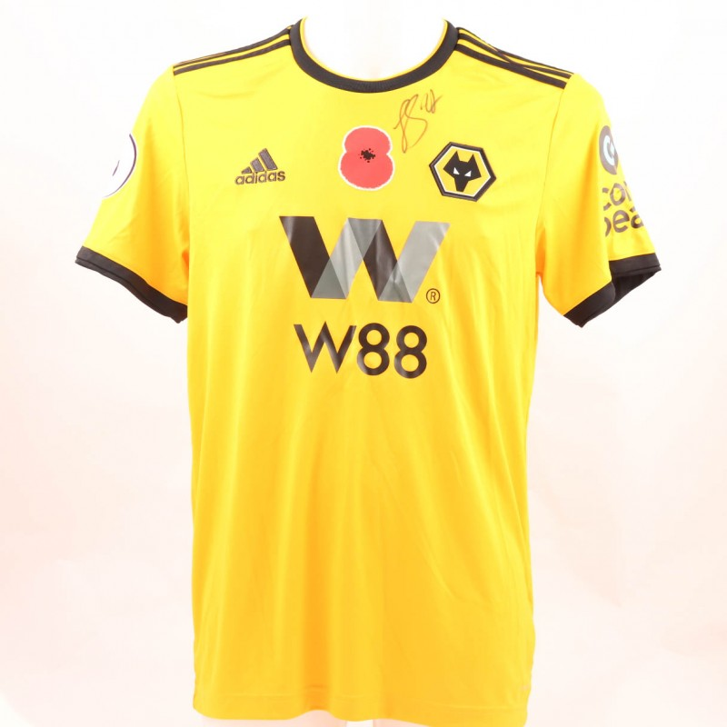 Saiss' Wolves FC Issued and Signed Poppy Shirt
