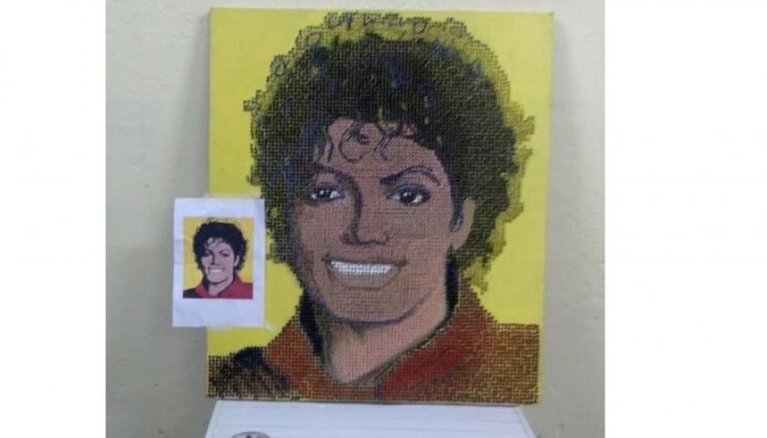 """Michael Jackson"" - acrylic on 8000 self-tapping screws - Drill Monkeys Art Duo - 80x93x5 cm"