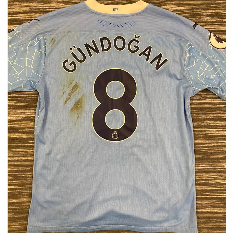 Original Ilkay Gündogan Match Worn and Signed Jersey vs. Liverpool