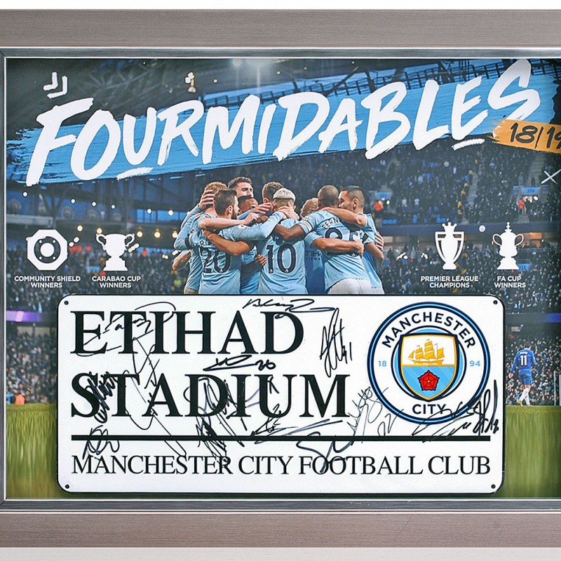 Manchester City Squad Signed Fourmidables Street Sign
