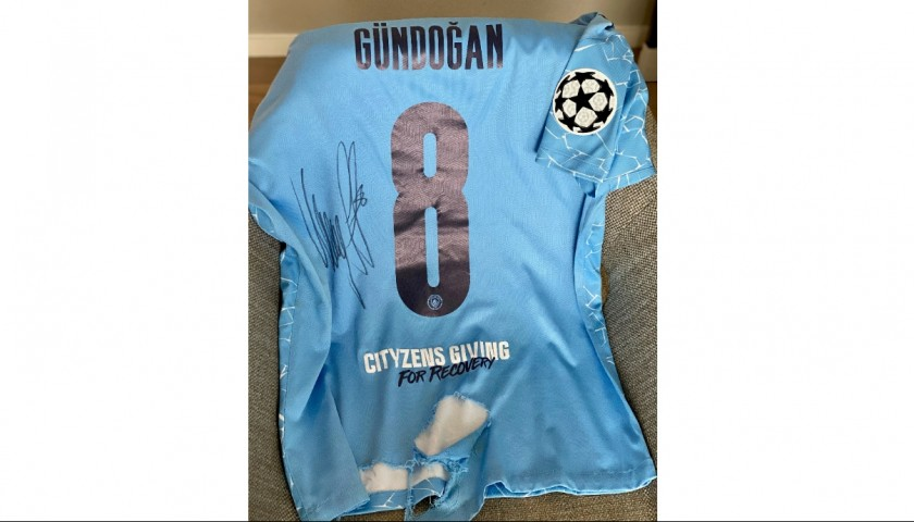 Gundogan's Worn and Signed Match Shirt, Manchester City-BVB 2021