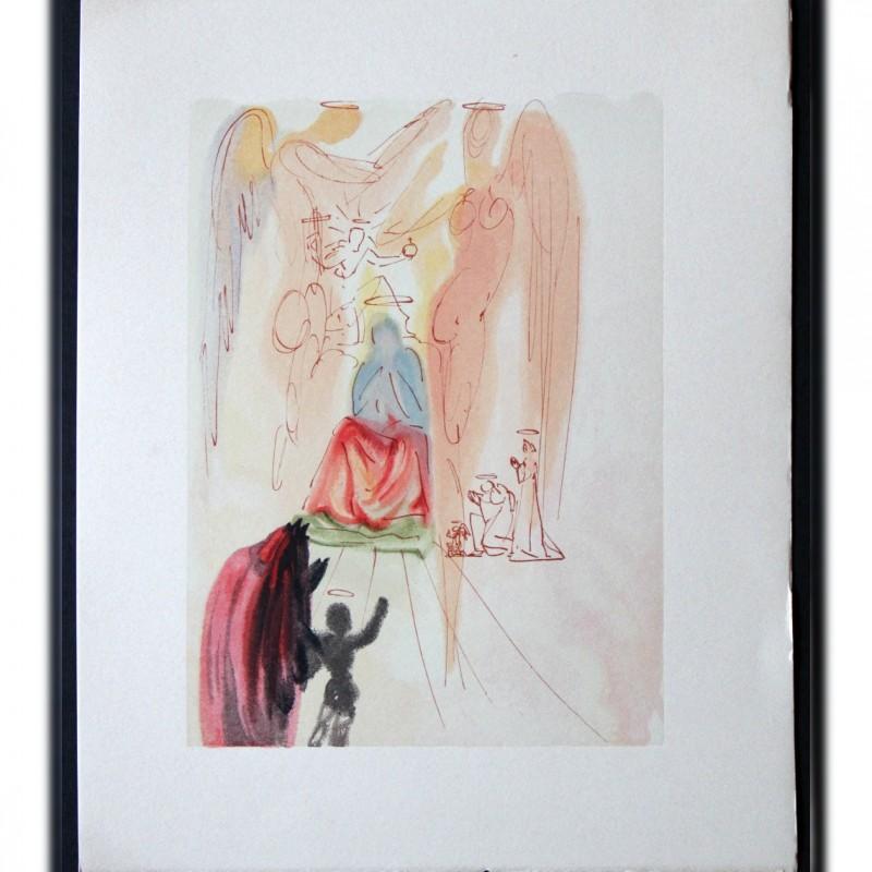 """Original Board by Salvador Dalì - """"Il giardino di Cristo"""" Paradiso Canto XXIII"""