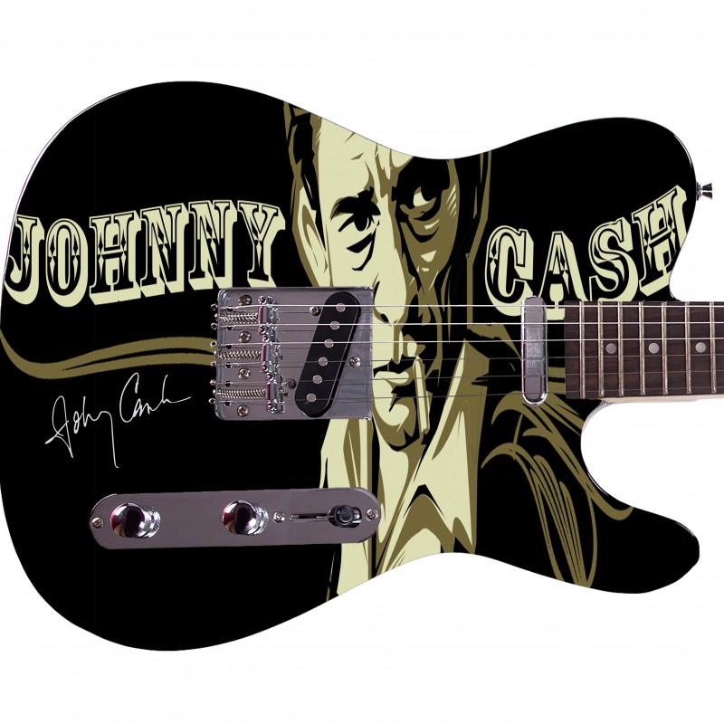 Chitarra con grafica personalizzata Johnny Cash