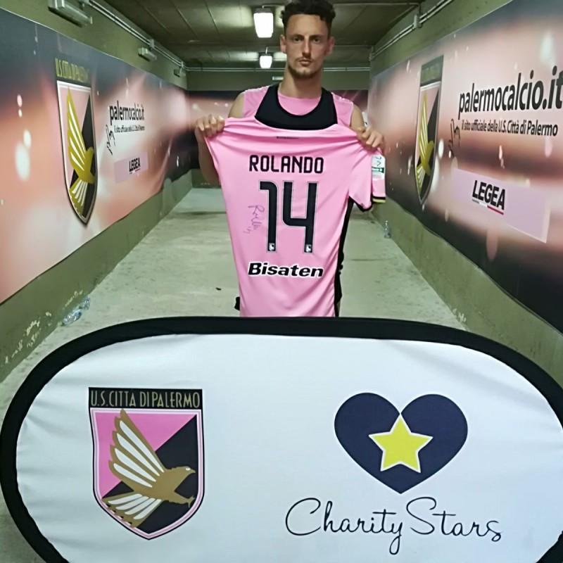 Rolando's Signed Match-Worn 2018 Palermo-Cesena Shirt