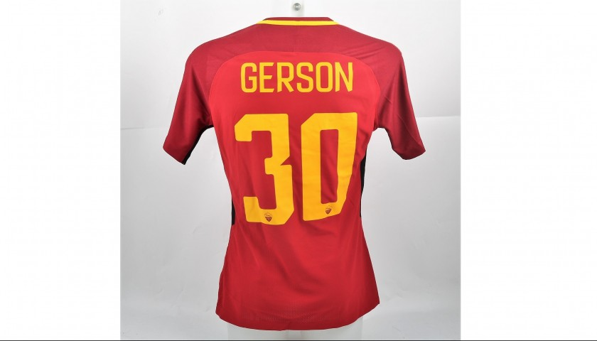 Gerson's Bench-Worn Roma-Cagliari Shirt, Special Sponsor Telethon
