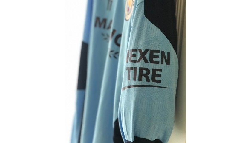 De Bruyne's Worn Manchester City Signed Thermal Training Top