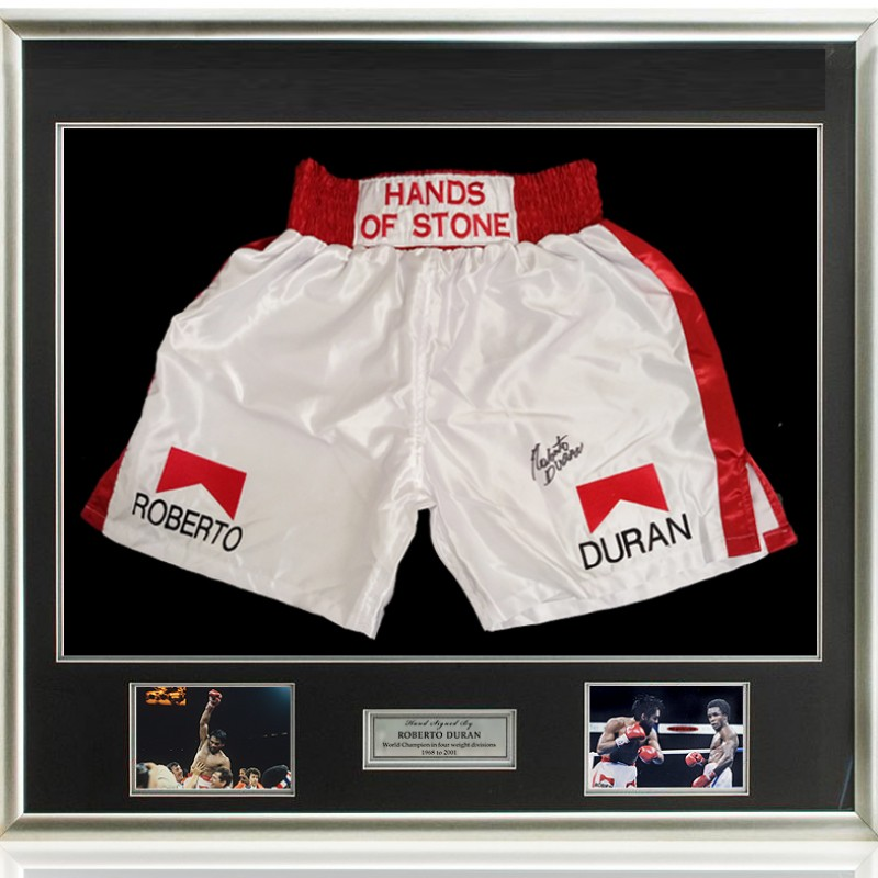Roberto Duran Hand Signed Boxing Trunks