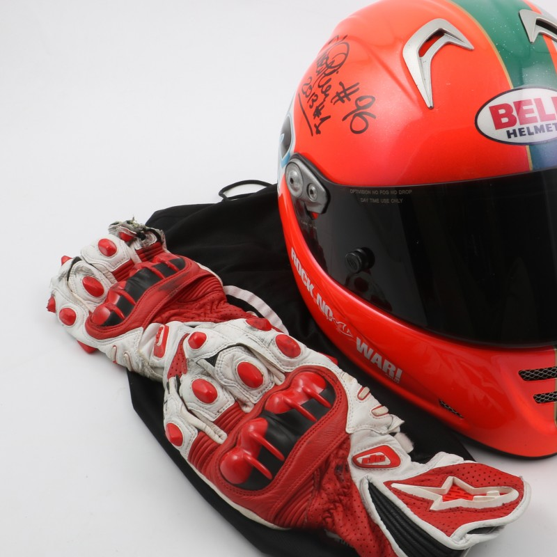 ... fashion styles Luca Pini s signed and used helmet and gloves 88abd  8c937 ... fcc8807ba15c