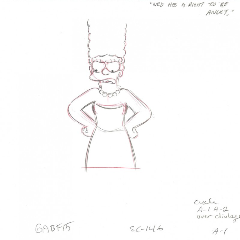 The Simpsons - Original Drawing of Marge Simpson