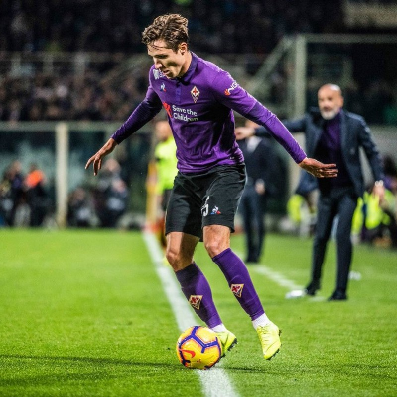 Chiesa's Worn Shirt with Mandela Patch, Fiorentina-Juventus