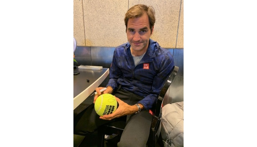 Tennis Ball Signed by Federer at the Mutua Madrid Open 2019
