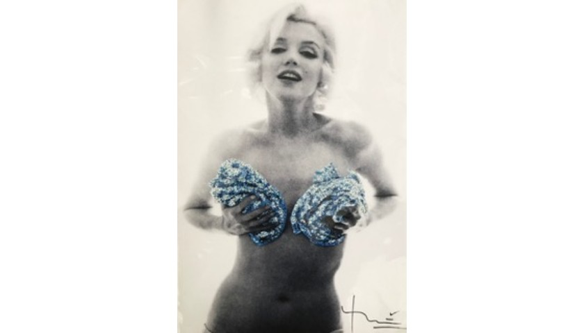 "Signed Marilyn ""Blue Roses"" Print by Bert Stern"