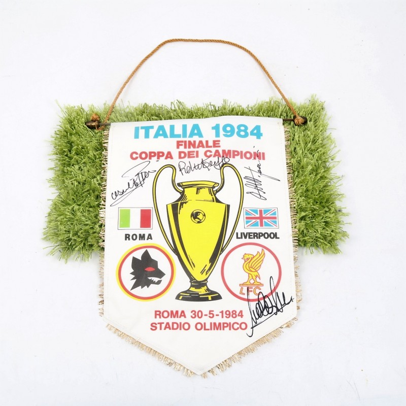 1983/84 Roma Champions Cup Pennant, Autographed