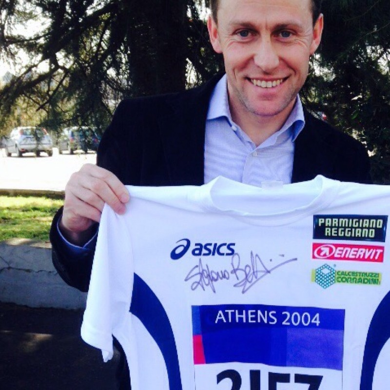 Olympic Gold Athens 2004 celebrative shirt - signed by Stefano Baldini