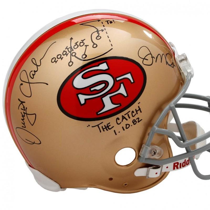 """The Catch"" San Francisco 49ers Helmet Autographed by Joe Montana and Dwight Clark"
