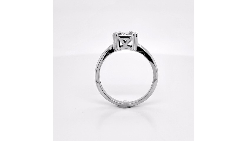 14KT White Gold .52 Carat Square Diamond Cluster Ring