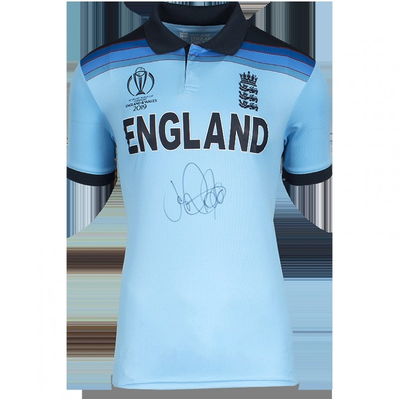 Joe Root Front Signed England Cricket Shirt: 2019 ICC Cricket World Cup Special Edition