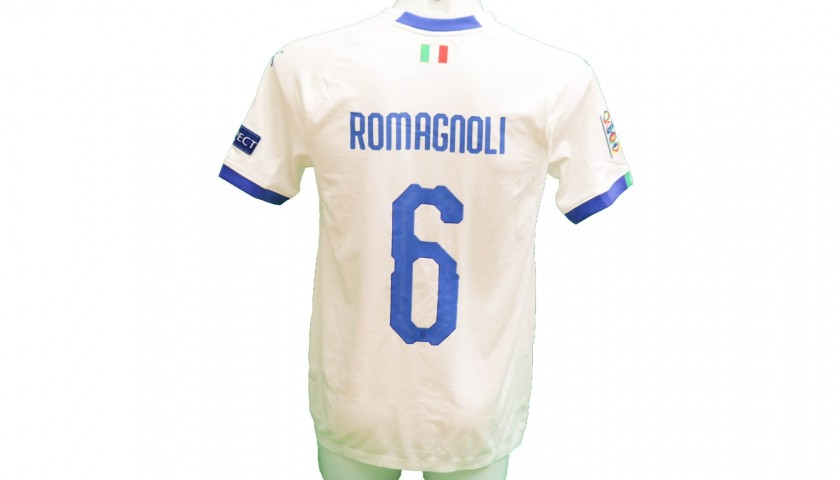 Romagnoli's Match-Issue / Worn Shirt, Portugal-Italy 2018