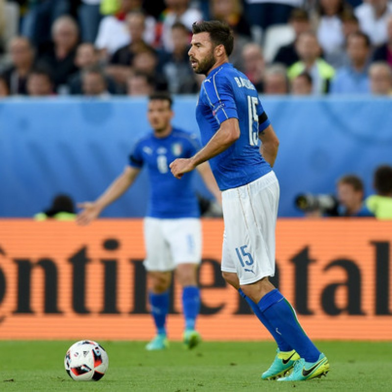Barzagli's Match Signed Shorts, Germany-Italy 2016