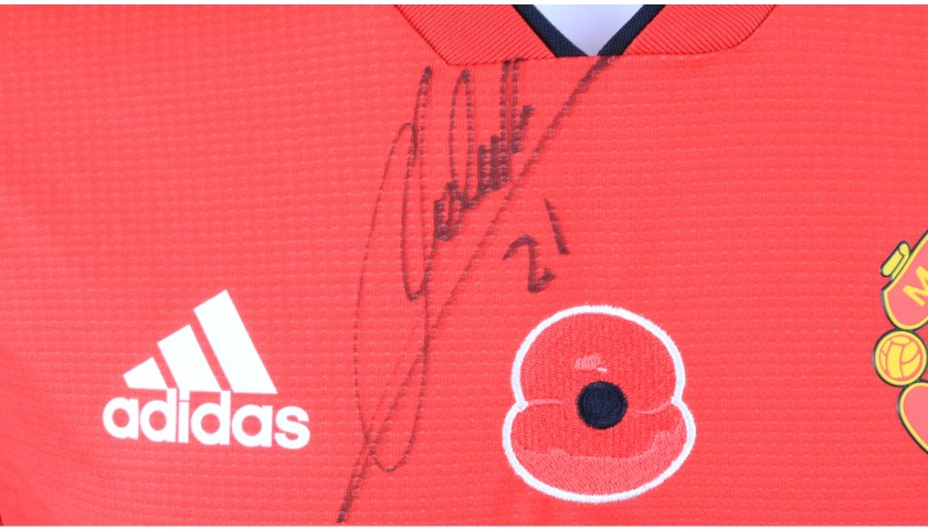 Herrera's Manchester United Match-worn and Signed Poppy Shirt