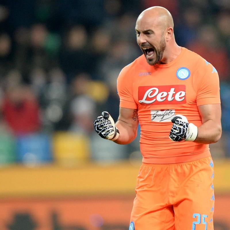Reina Napoli Match Worn Shirt, Serie A 2016/17 - UNWASHED