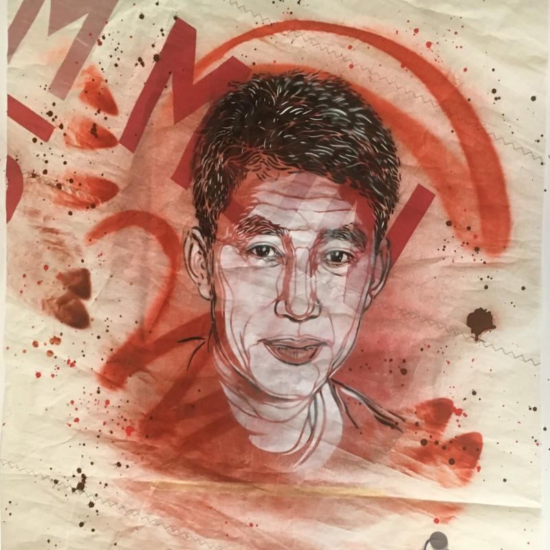 Portrait of the Champion for Peace Guo Chuan by the street  artist C215