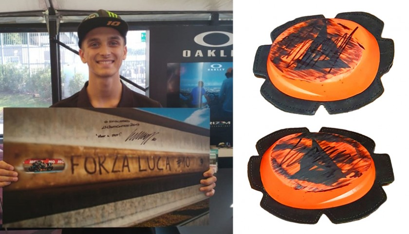 Photograph and Knee Sliders Signed by Luca Marini