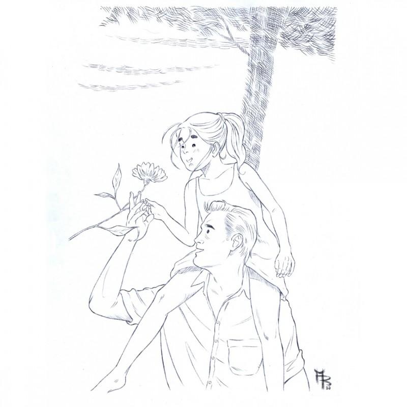 "Original Drawing by Matteo Bussola - ""Viola e il blu"" Book"