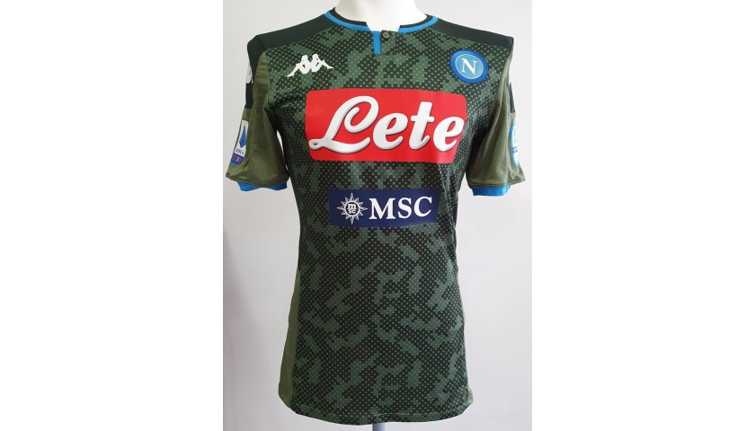 Mertens' Match-Issued Signed Shirt, Verona-Napoli 2020, Special Patch