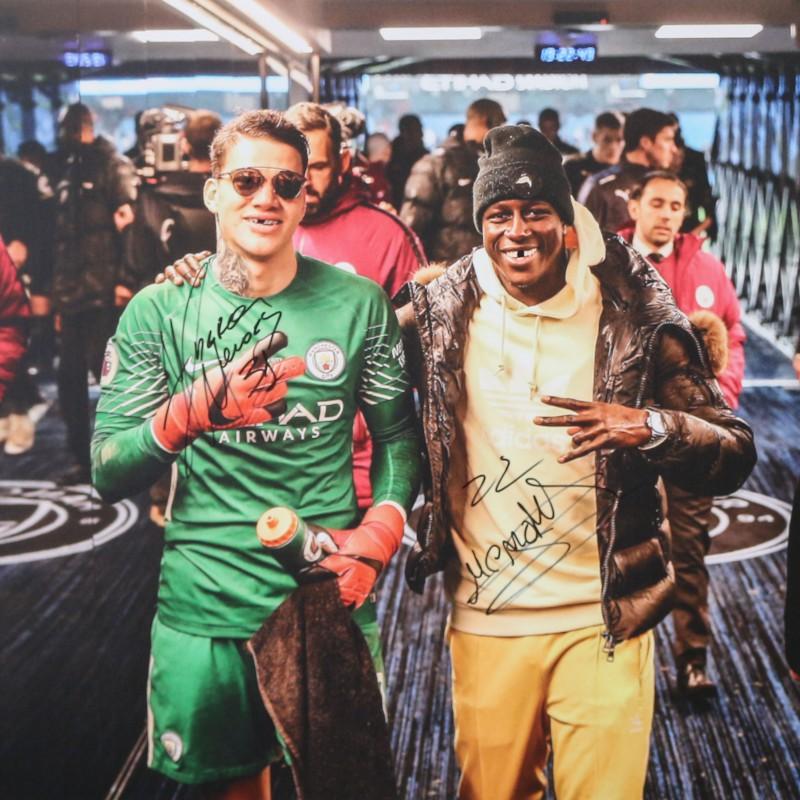 Ederson Santana de Moraes & Benjamin Mendy Manchester City A2 Signed Photograph