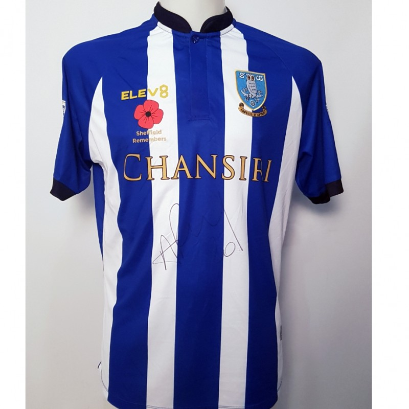 Adam Reach's Sheffield Wednesday Worn and Signed Poppy Home Shirt